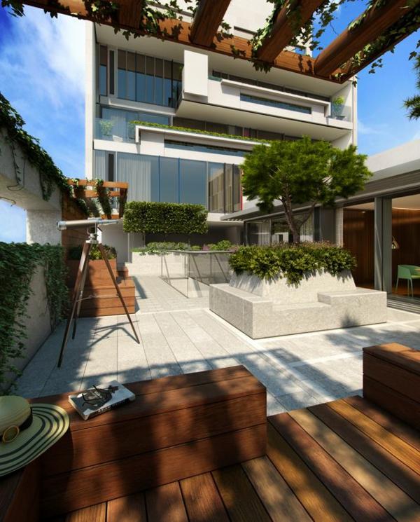 Überdachte Terrasse modern holz glas pergola markise cool