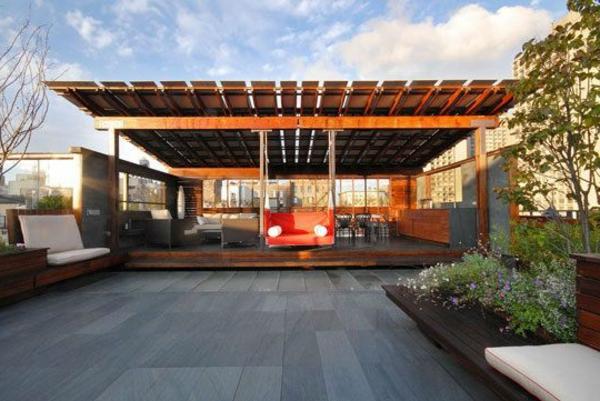 Überdachte Terrasse modern holz glas pergola markise fassade