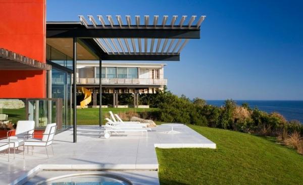 Terrasse modern holz glas pergola markise garten