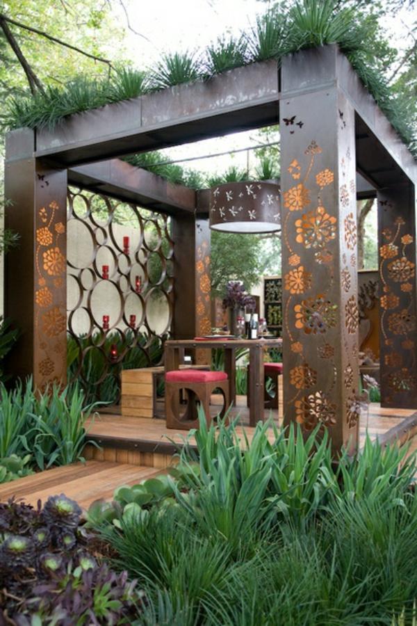 Terrassenüberdachung modern holz glas pergola markise grün