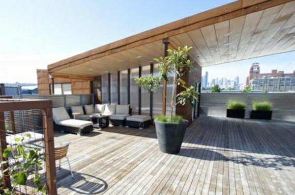 Terrassenüberdachung modern holz glas pergola markise groß