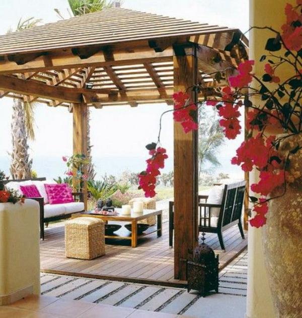 Terrasse modern holz glas pergola markise japanisch