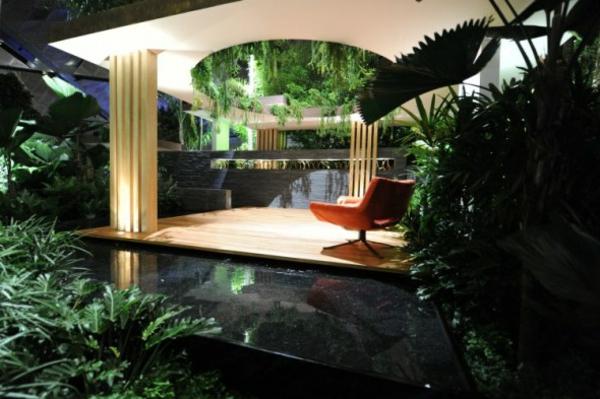 Terrassenüberdachung modern holz glas pergola markise nacht