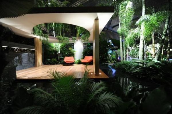Überdachte Terrasse modern holz glas pergola markise offen