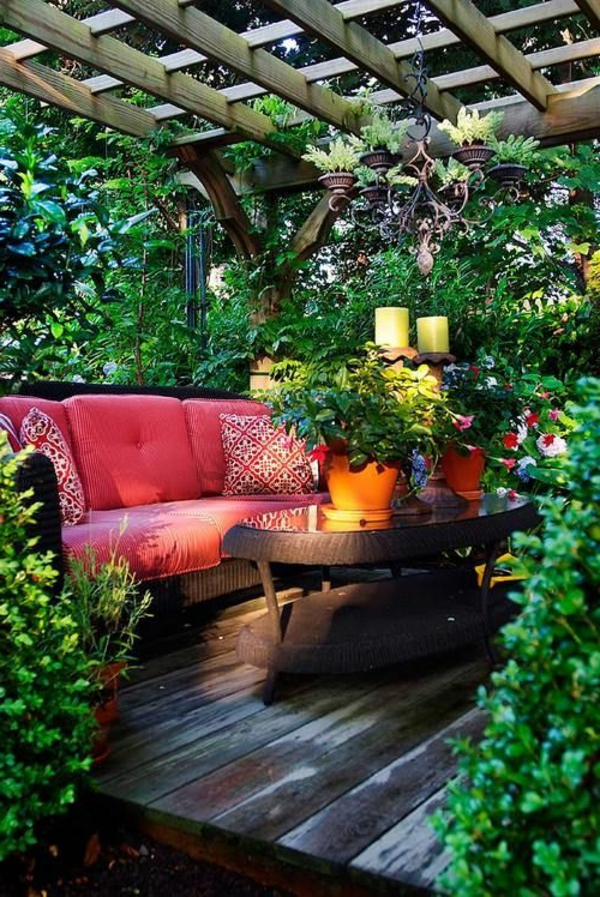 Terrasse modern holz glas pergola markise sofa