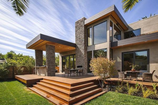 Überdachte Terrasse modern holz glas pergola markise spektakulär