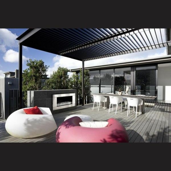 Terrassenüberdachung modern holz glas pergola markise trendy
