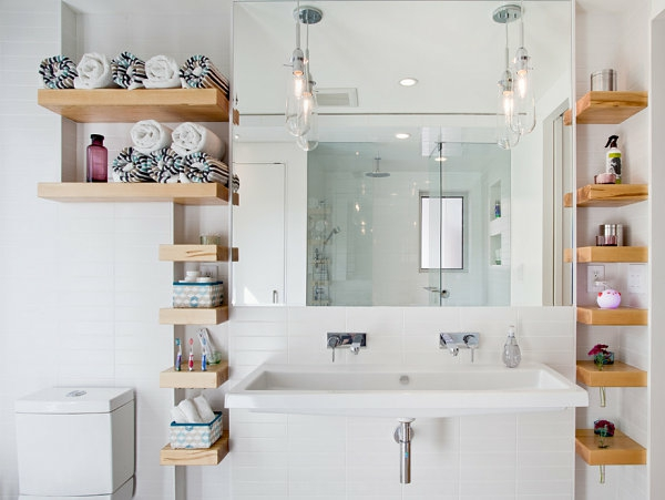 wandregale für badezimmer wandgestaltung holz tücher spiegel