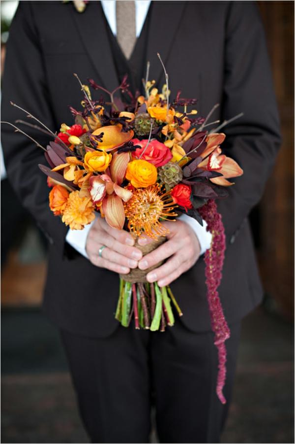 Brautstrauß Ideen im Herbst blumen orange gelb mann