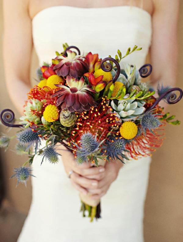 Brautstrauß Ideen Herbst orange gelb sukkulenten