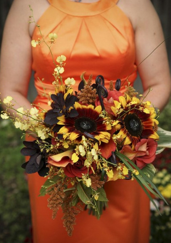 Brautstrauß Ideen im Herbst orange nuancen gelb