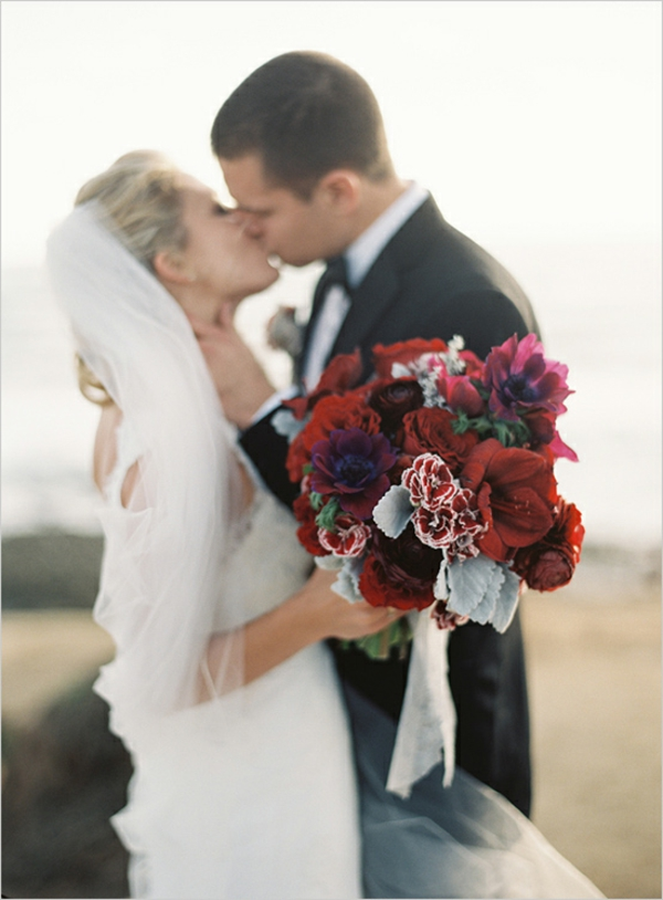Brautstrauß Ideen Herbst rot groß