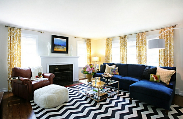 Teppich Wohnzimmer Design teppich wohnzimmer grau elegant design dekokissen Chevron Muster Teppich Schwarz Wei Design
