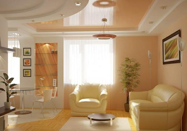 Deckengestaltung im Wohnzimmer Hängedecken beleuchtung eingebaut ambiente
