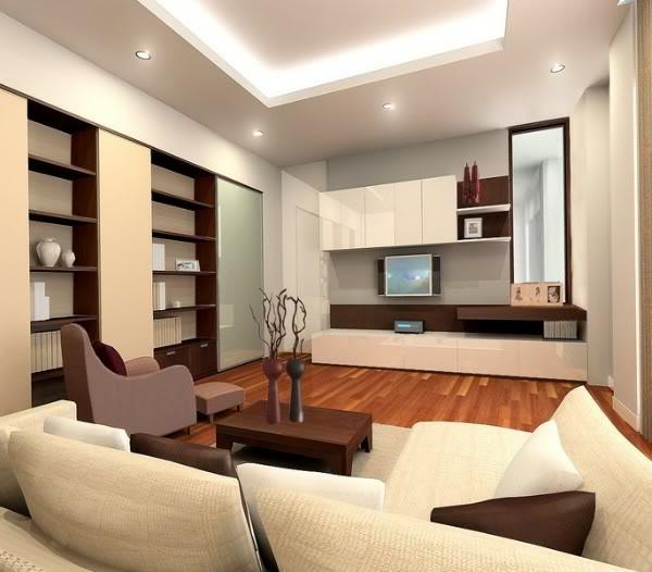 Deckengestaltung im Wohnzimmer - erstaunliche, abgehängte Decke