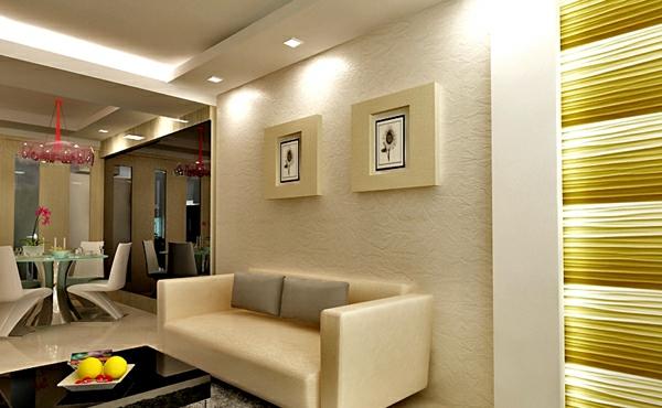 Deckengestaltung im Wohnzimmer Hängedecken beleuchtung eingebaut elegant