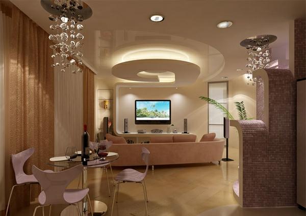 Deckengestaltung  Wohnzimmer Hängedecken beleuchtung  fernsehen
