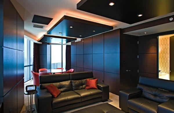 Deckengestaltung im Wohnzimmer Hängedecken beleuchtung eingebaut geometrisch