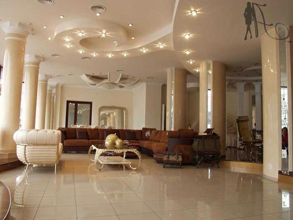 deckengestaltung  Wohnzimmer Hängedecken beleuchtung eingebaut glanz