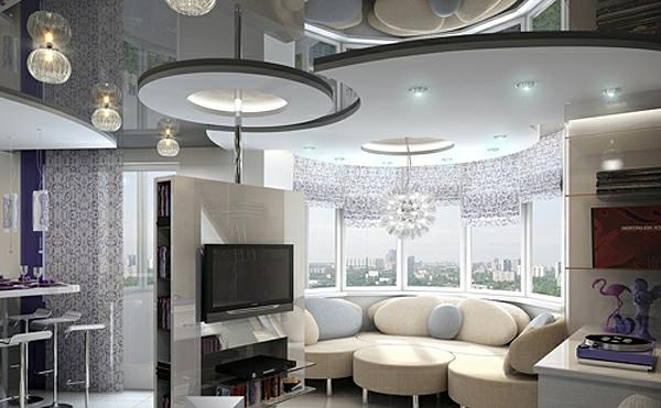 deckengestaltung  Wohnzimmer Hängedecken beleuchtung eingebaut grau