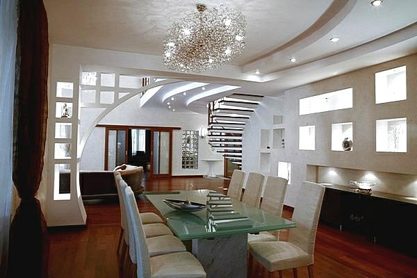 deckengestaltung Wohnzimmer Hängedecken beleuchtung eingebaut hell