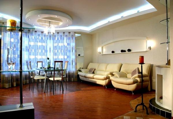 Deckengestaltung  Wohnzimmer Hängedecken beleuchtung eingebaut indirekt