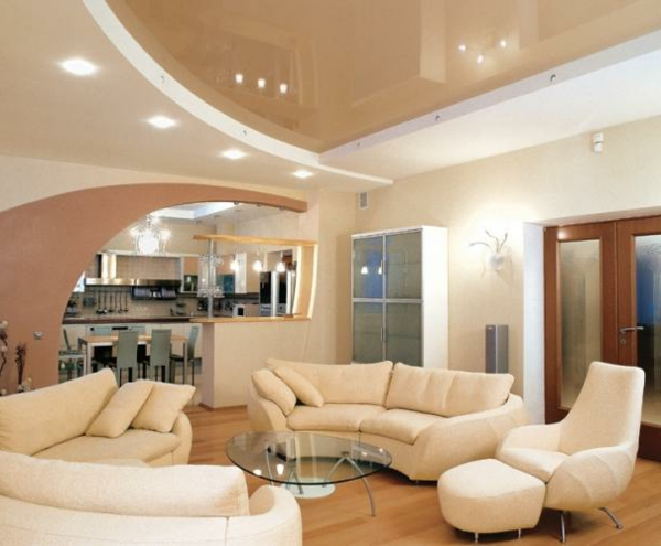 Deckengestaltung Wohnzimmer Hängedecken beleuchtung eingebaut leder möbel