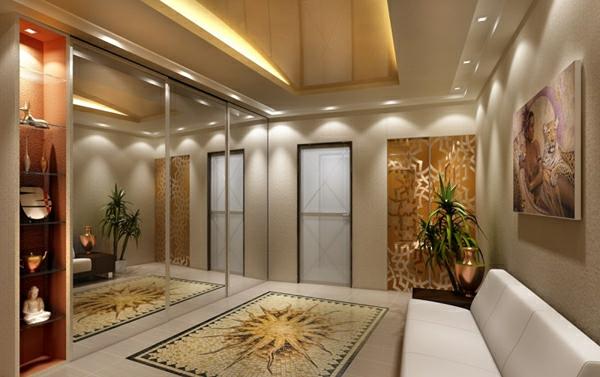 Deckengestaltung Wohnzimmer Hängedecken beleuchtung eingebaut licht