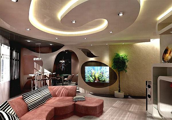 Deckengestaltung im Wohnzimmer Hängedecken beleuchtung eingebaut