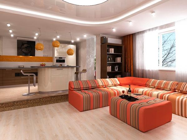 Deckengestaltung im Wohnzimmer Hängedecken beleuchtung eingebaut möbel