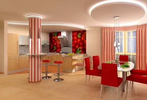 Deckengestaltung  Wohnzimmer Hängedecken beleuchtung eingebaut orange vorhänge