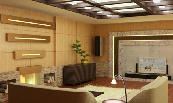 Deckengestaltung im Wohnzimmer Hängedecken beleuchtung eingebaut privat