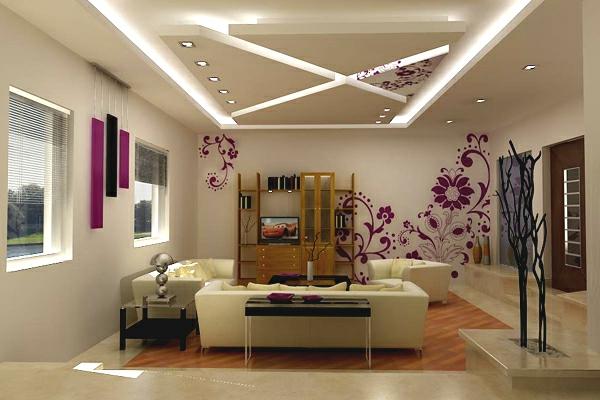 Deckengestaltung im Wohnzimmer Hängedecken beleuchtung linien