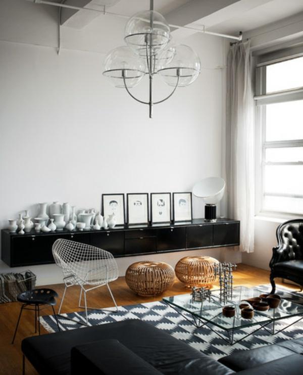 Deckenleuchten und Wandleuchten transparent wohnzimmer kommode