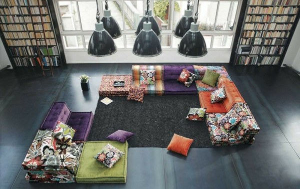 Wohnzimmer Einrichtungsbeispiele eklektisch sofas orientalisch