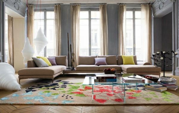 Einrichtungsbeispiele fürs-Wohnzimmer kissen gelb bunt akzente