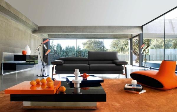 Einrichtungsbeispiele fürs Wohnzimmer orange farben