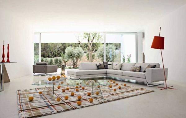 Einrichtungsbeispiele fürs Wohnzimmer orange lampenschirm kugel