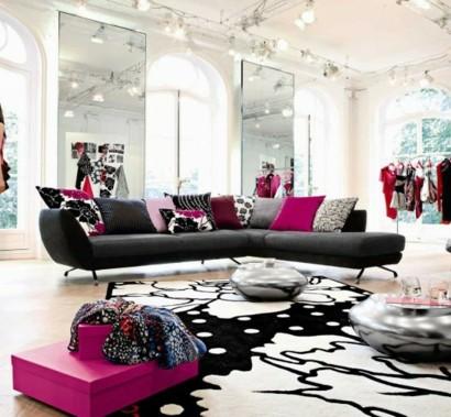 Schwarz weis rosa wohnzimmer