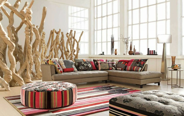 Einrichtungsbeispiele fürs Wohnzimmer streifen farben natur
