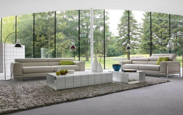 luxus wohnzimmer modern:Einrichtungsbeispiele Wohnzimmer teppich weich fell beige