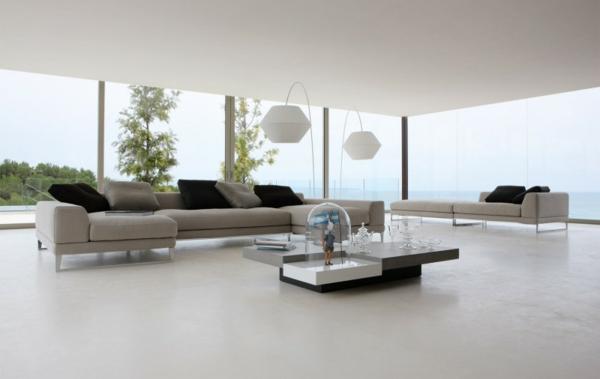 wohnzimmer weiß minimalistisch pflanzen glatte oberflächen
