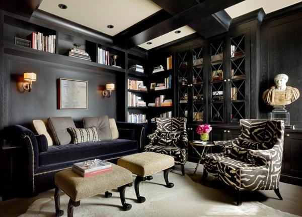 Farbgestaltung und Wandfarben Ideen blau büro schwarz klassisch