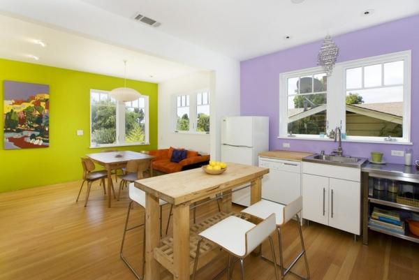 Farbgestaltung und Wandfarben Ideen blau küche lila wand