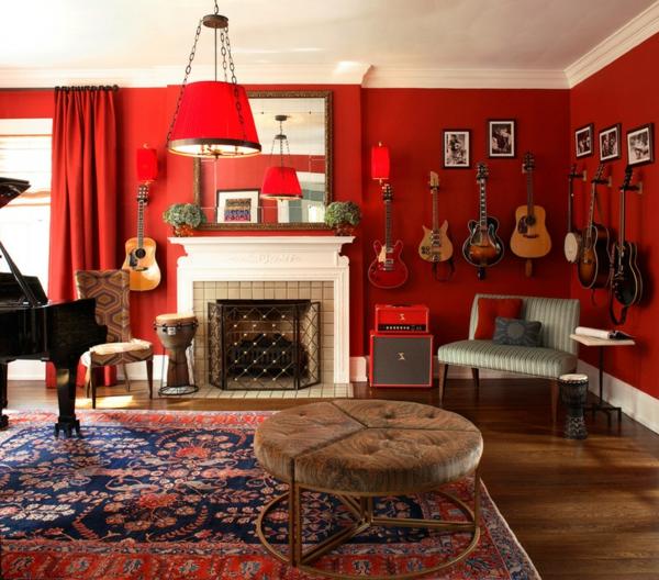 Farbgestaltung und Wandfarben Ideen gitarren rot