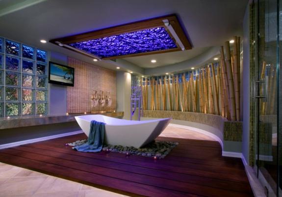 Feng Shui Einrichtung ideen zen freistehende badewanne holzboden kies