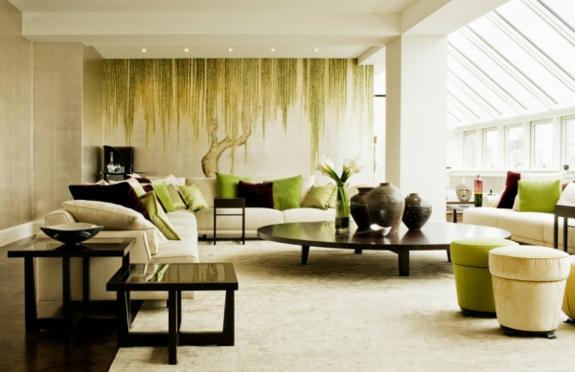 Feng Shui wohnzimmer ideen wandfarbe grün fototapette