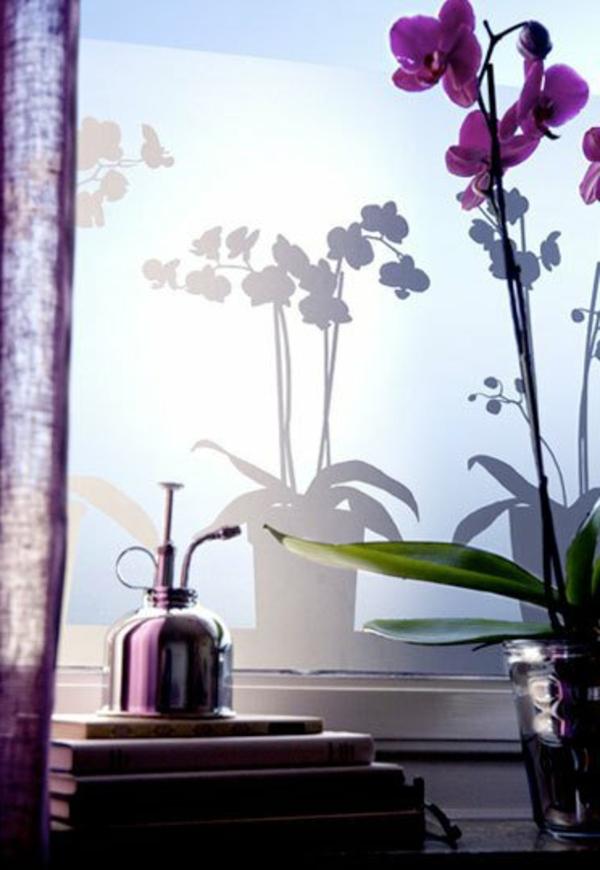 Fenster Sichtschutzfolie glastüren selbstklebend elegant blumen