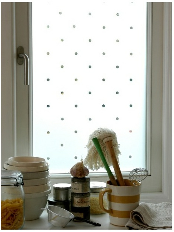 Sichtschutzfolie Fenster  glastüren selbstklebend elegant getupft