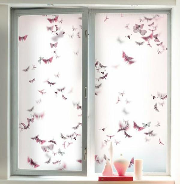 Fensterdeko Sichtschutzfolie glastüren selbstklebend elegant natur
